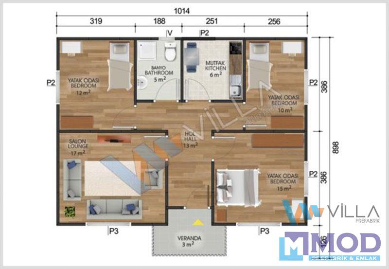 Prefabrik Ev 82 m²