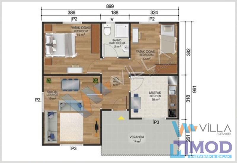 Prefabrik Ev 84 m²