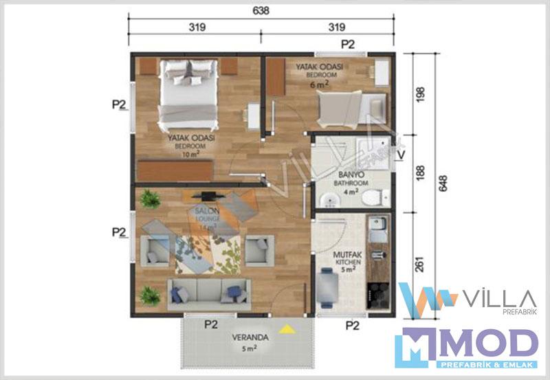 Prefabrik Ev 45 m²