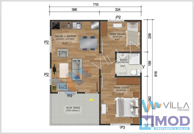 Prefabrik Ev 49 m²