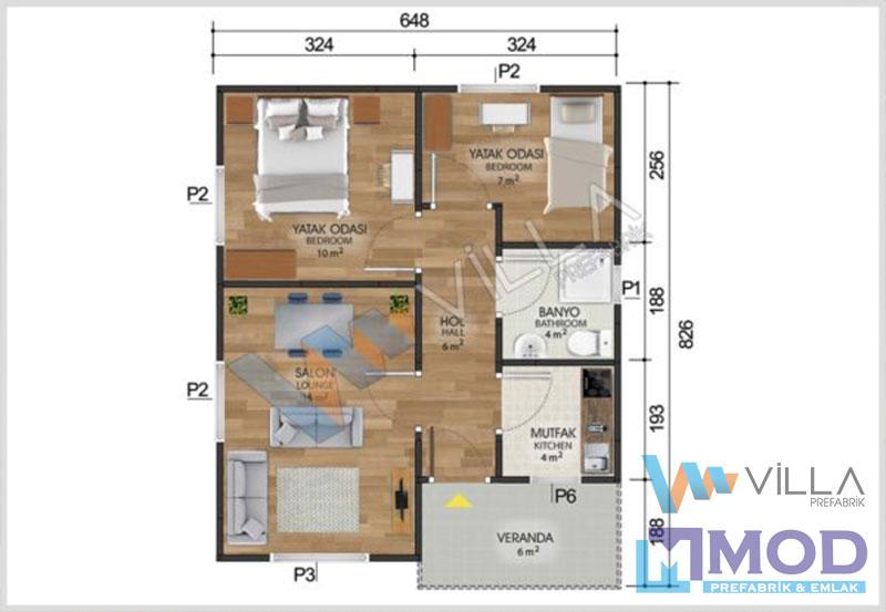 Prefabrik Ev 53 m²