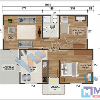 Prefabrik Ev 72 m²